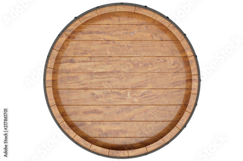 Canvas Print Wine, beer, whiskey, wooden barrel top view of isolation on a white background