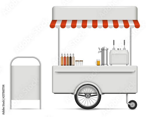 Fotografía Realistic vector food cart on white background for branding, corporate identity