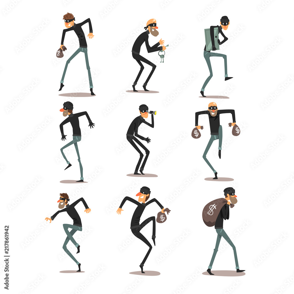 Fototapeta Male thief in mask set, robber cartoon characters committing crimes vector Illustrations on a white background