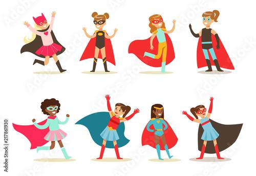 Girls in superhero costume set, pretty little super girls vector Illustrations o Canvas Print
