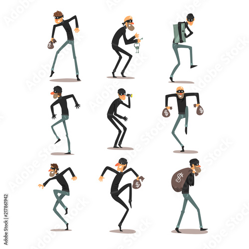 Fotografía Male thief in mask set, robber cartoon characters committing crimes vector Illus