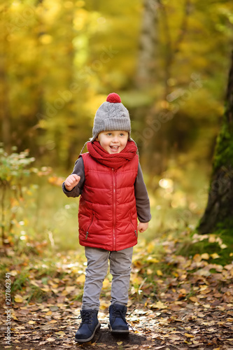 Staande foto Jogging Little boy during stroll in the forest at sunny autumn day