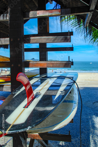 Deurstickers Centraal-Amerika Landen Surfboard on Ipanema beach, Rio de Janeiro