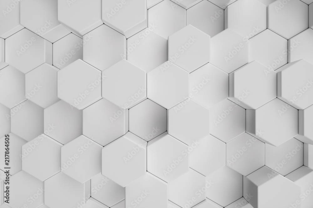 Fototapeta 3D illustration white geometric hexagonal abstract background. Surface hexagon pattern, hexagonal honeycomb.