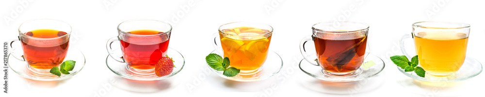 Fototapety, obrazy: Collection cup of tea and strawberry, mint and lemon on white