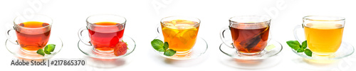 Obraz Collection cup of tea and strawberry, mint and lemon on white - fototapety do salonu