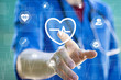Doctor pushing button heart pulse health care network on internet panel medicine.