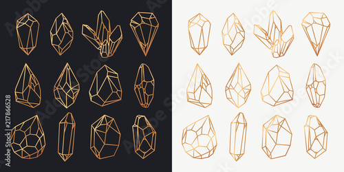 Valokuvatapetti Crystals or minerals, diamond and gems outline