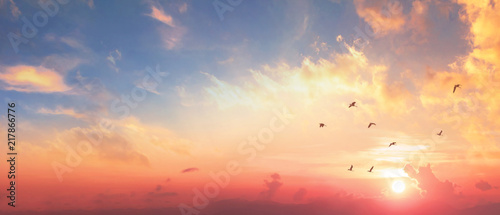 Background of colorful sky concept: Dramatic sunset with twilight color sky and Poster Mural XXL