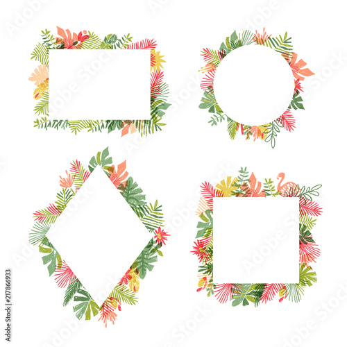 Tropical flower and flamingo bird frame collection, vector illustration isolated on white background Fototapeta