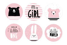 Hand Drawn Candy Bar Baby Shower Vector Tag Set. Pink And White Circle Shape Tags. Black Hand Written Letters. White Bunny, Black Big Bear And Pink Little One. It's A Girl And Hello Little One Text.