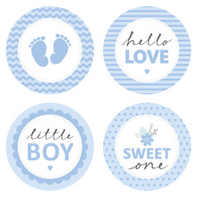 Cute Baby Shower Vector Sticke...