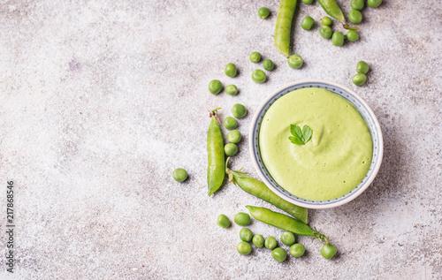 Photo  Green peas puree or soup
