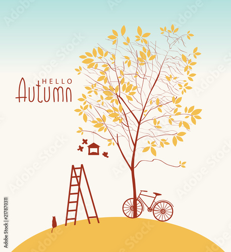 Foto op Canvas Lichtblauw Vector banner with inscription Hello Autumn. Fall landscape with yellowed tree, bike, cat, birds, birdhouse and ladder