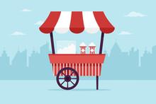 Popcorn Cart In The City. Flat...