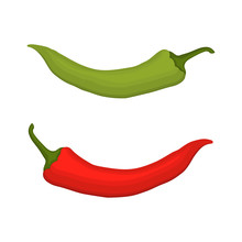 Red And Green Chilli Peppers Isolated On A White Background. Vector Illustration