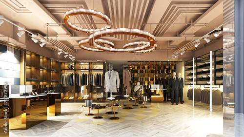 Valokuvatapetti 3d render of fashion dress store