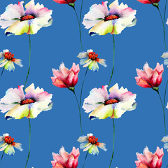 Fototapeta Kwiaty Seamless wallpaper with summer flowers