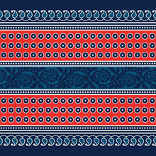 Woodblock Printed Seamless Indigo Dye Ethnic Floral Border. Traditional Oriental Ornament Of India , Geometric Motif With Paisleys, Dots And Flowers Pattern, Red And Teal On Navy Blue Background.