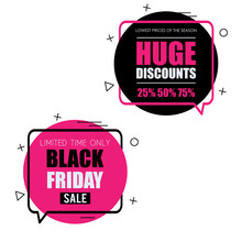 Black Friday Set Of Trendy Flat Geometric Vector Bubbles. Vivid Transparent Banners In Retro Poster Design Style. Bright Colors And Shapes. Pink And Yellow Colors.