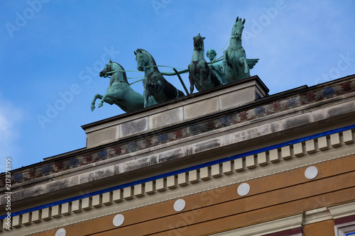 Photo  The Goddess Victoria on top of Thorvaldsens Museum