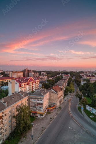 Fotografie, Obraz  Aerial view in Ivano - frankivsk city street at sunset