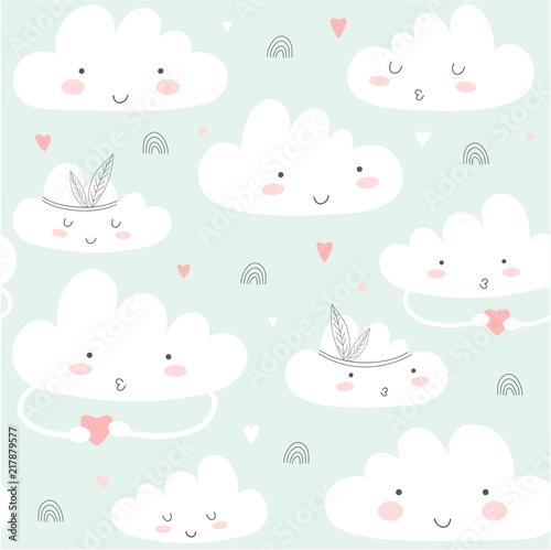Fototapeta Seamless pattern with cute clouds.
