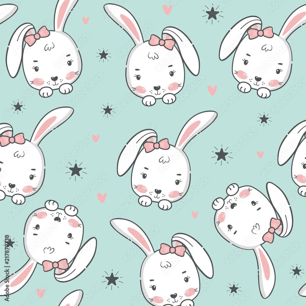 Obraz na plátně Seamless pattern with cute rabbit.