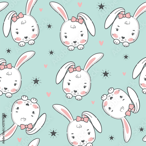Tela  Seamless pattern with cute rabbit.