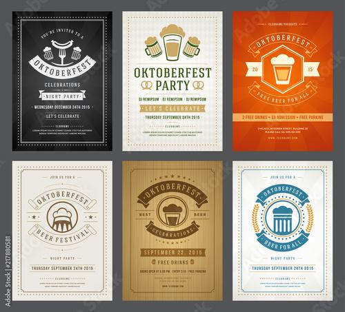 Fototapety, obrazy: Oktoberfest beer festival celebration retro typography posters or flyers