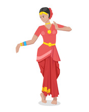 Indian Girl Dancer, In Colorful Red Classic Traditional Attire.