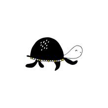 Vector Hand Drawn Turtle. Ocea...