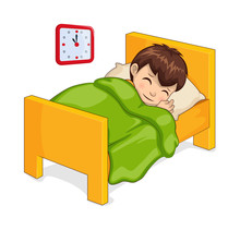Sleeping Boy In Bed Isolated Vector Illustration