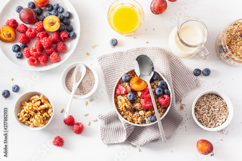 healthy granola for breakfast with berry fruit nut, vegan milk Fototapete
