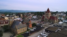 A Slowly Rising Forward Moving Aerial Establishing Shot Of The Small Town Of Uniontown, Pennsylvania, About 40 Miles Outside Of Pittsburgh.