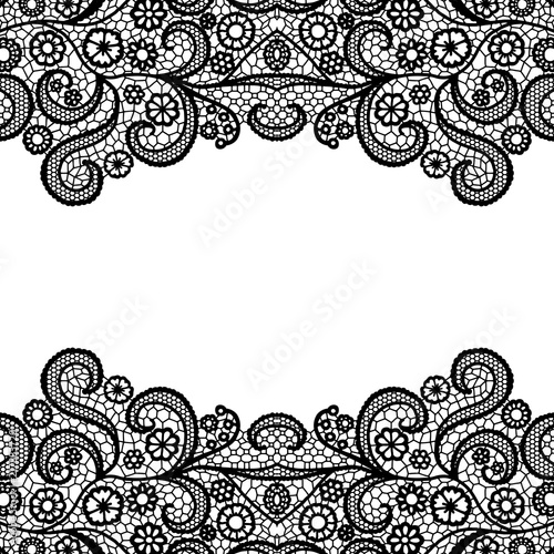 Seamless vintage black lace border. Invitation card. Wallpaper Mural