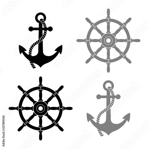 фотография Rudder and anchor vector icons on white background