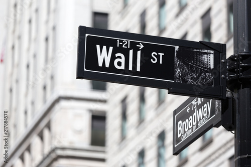 Wall St. street sign in lower Manhattan, New York City, USA.