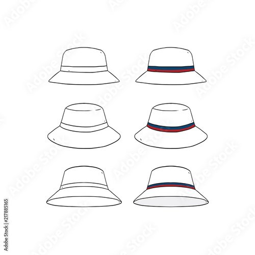 Set Of Blank Striped Bucket Hat Design Template Hand Drawn Vector Illustration