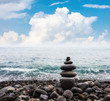 stack of zen stones pyramid on beach