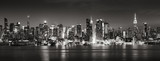 Fototapeta Nowy York - Panoramic Black & White view of Midtown West skyscrapers with the Hudson River. Manhattan, New York City