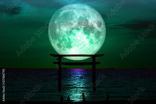 full sturgeon moon silhouette torii wooden Japanese pillar stand on sea night sky