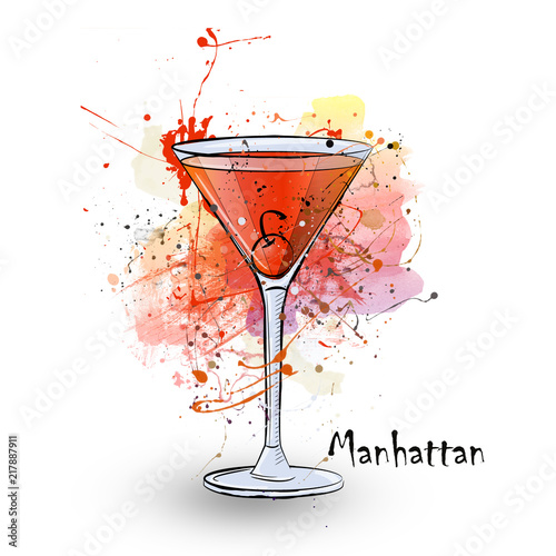 Hand Drawn Illustration Of Cocktail Manhattan Buy This Stock Illustration And Explore Similar Illustrations At Adobe Stock Adobe Stock