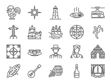 Portugal Icon Set. Included Icons As Portuguese, Lisbon, Cristo Rei, Belem, Barcelos Rooster, Travel And More.
