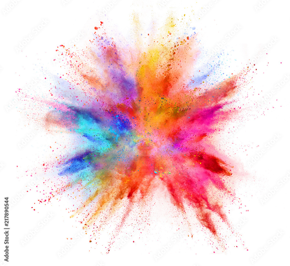 Fototapety, obrazy: Explosion of coloured powder isolated on white background