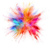 Fototapeta Rainbow - Explosion of coloured powder isolated on white background