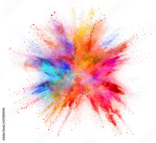 Explosion of coloured powder isolated on white background