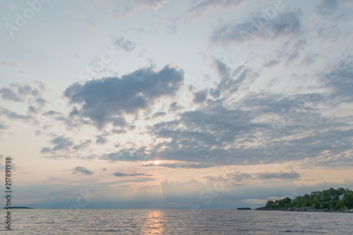 Printed kitchen splashbacks Fishing Gorgeous landscape with dawn clouds and sunrise on Georgian bay