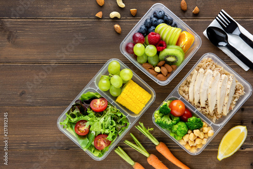 Fototapeta Clean healthy low fat ready to eat food in meal boxes
