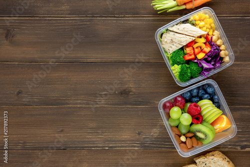 Fotografie, Obraz Clean healthy low fat ready to eat food in meal boxes